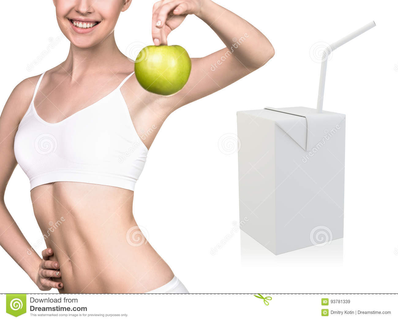 happy woman and juice box template stock image image of object
