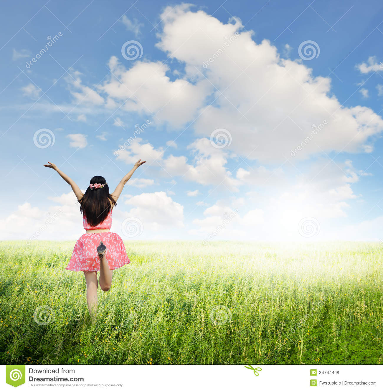 happy-woman-jump-green-grass-field-bule-