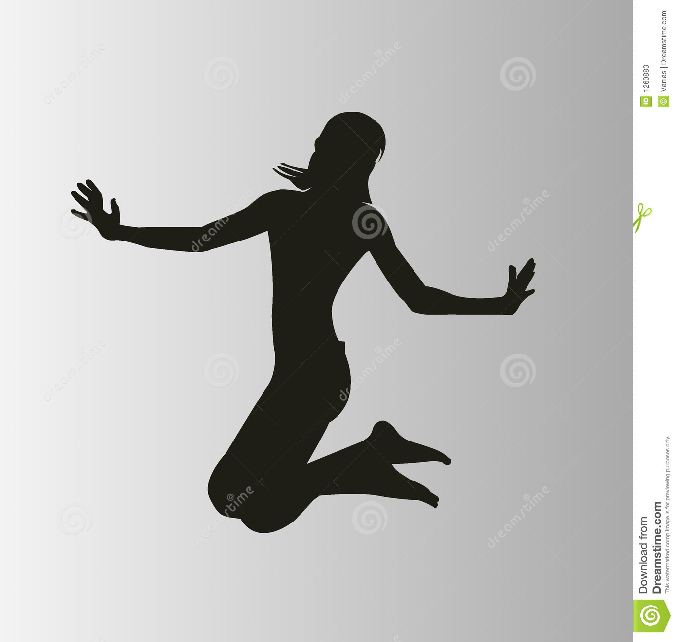 Happy woman jumping stock vector. Image of clouds, blue ...