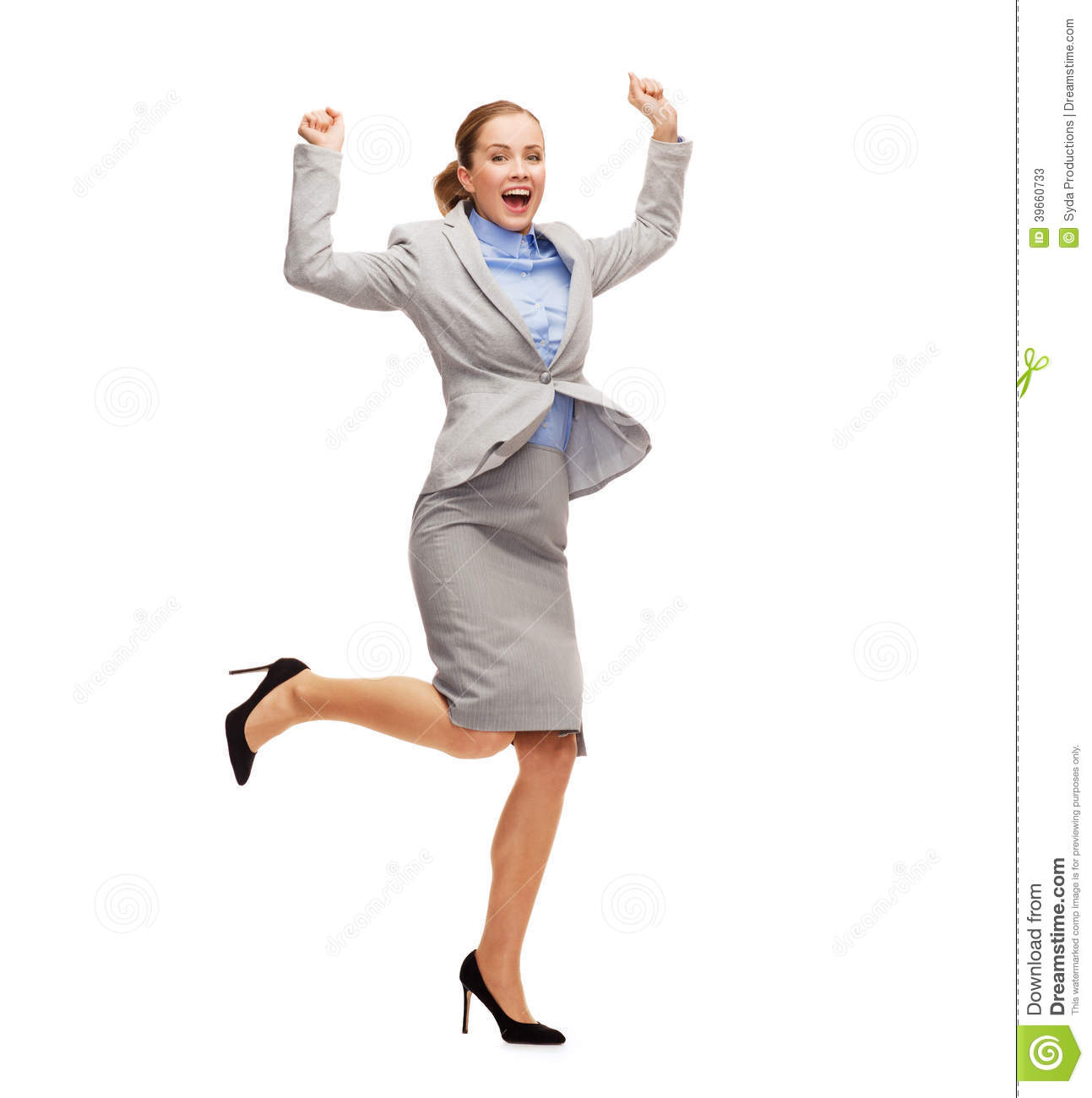 Happy Woman Jumping Wi...