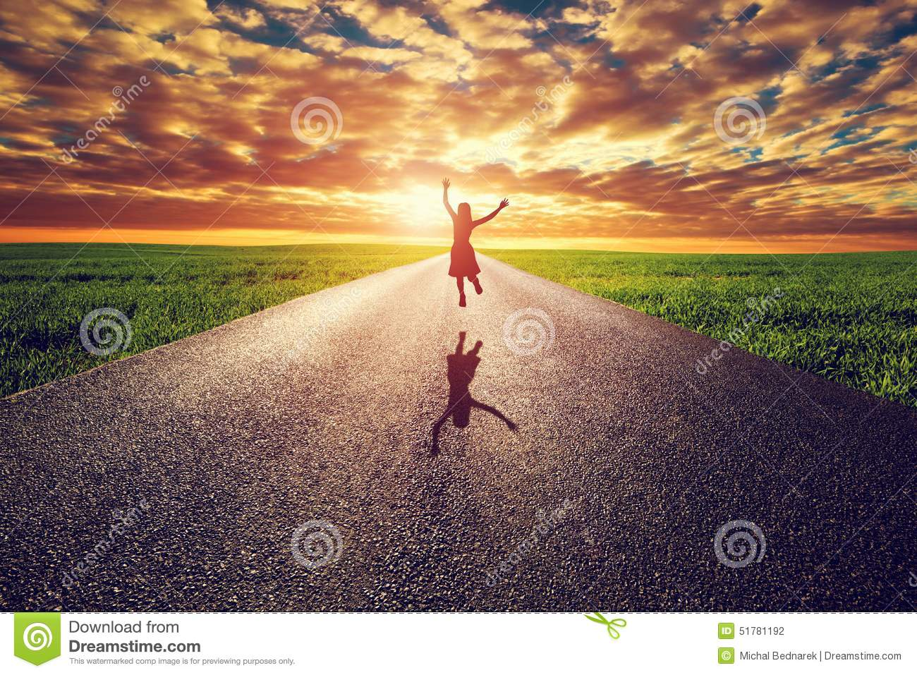 Download Happy Woman Jumping On Long Straight Road, Way Towards Sunset Sun Stock Photo - Image of future, asphalt: 51781192