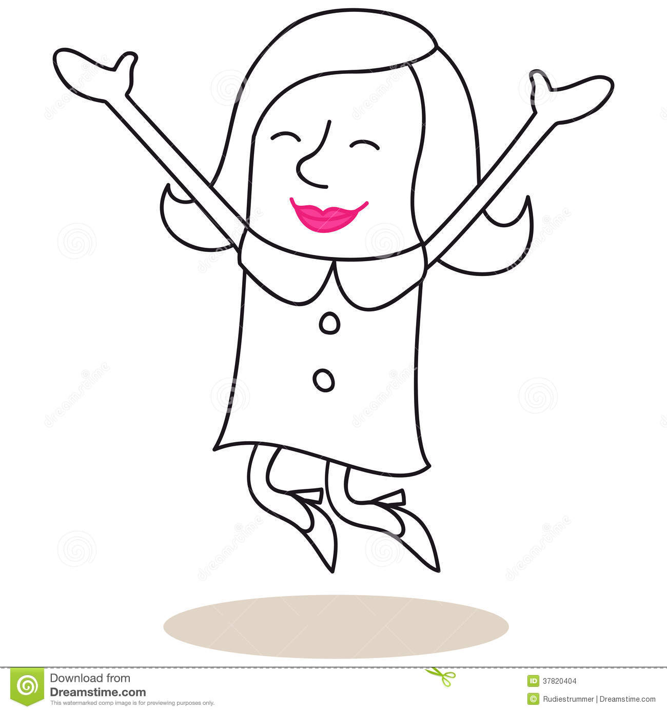 Happy Woman Jumping With Open Arms Stock Images - Image ...