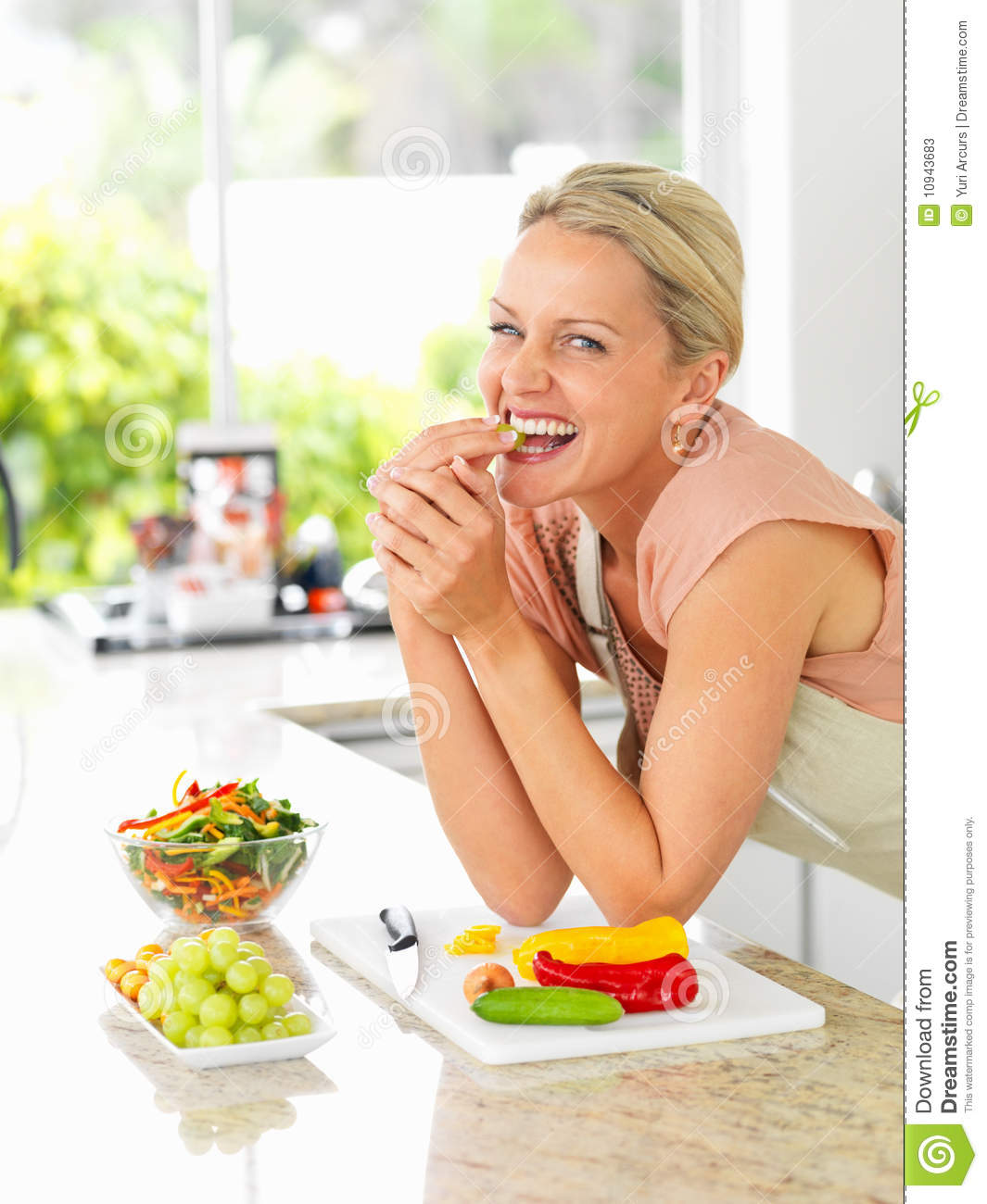 Women Kitchen: Stock Photos: Happy Woman In The Kitchen Making A Salad