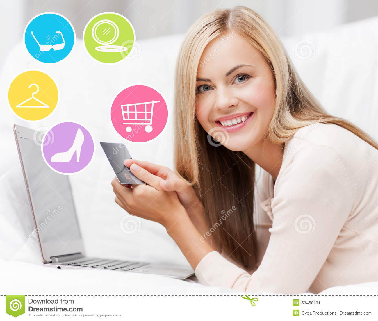 Home Store Online: Happy Woman With Laptop And Credit Card Shopping Stock