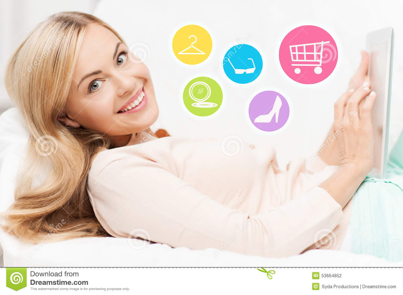 happy woman with laptop shopping online at home stock illustration illustration of internet. Black Bedroom Furniture Sets. Home Design Ideas