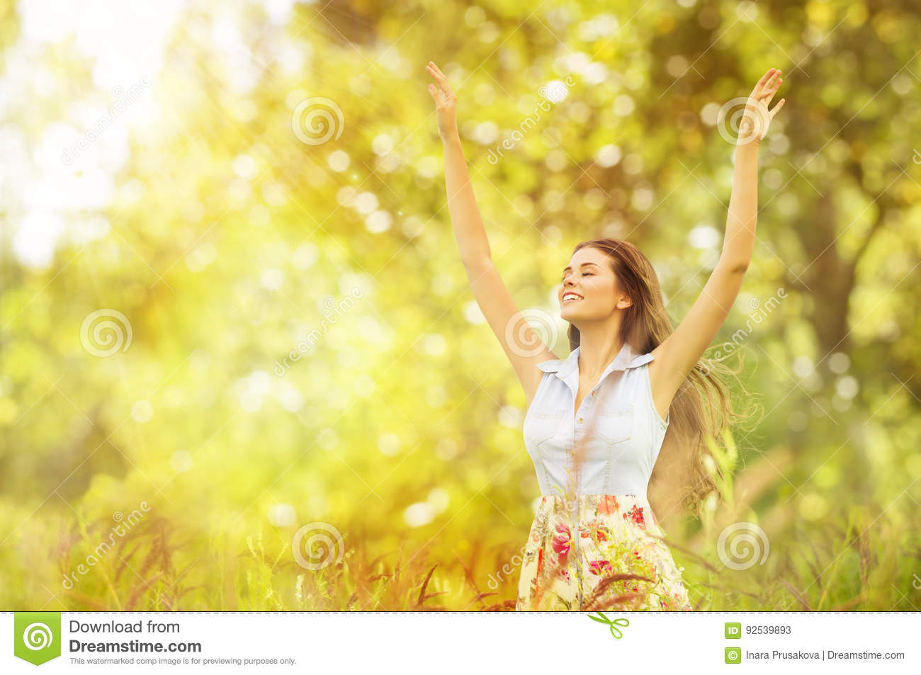 Happy Woman Life Style, Smiling Girl Raised Open Arms, Outdoor