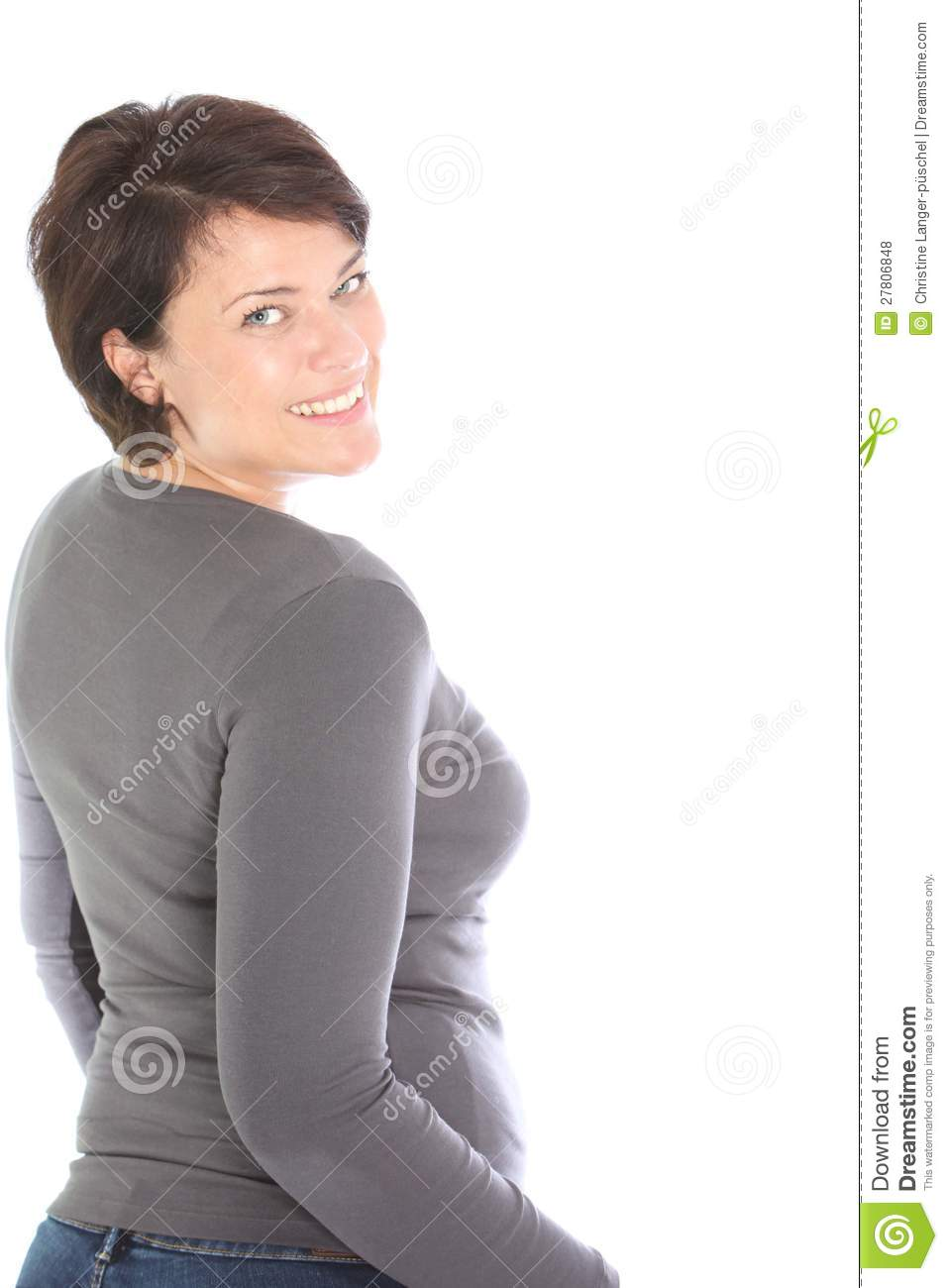 Happy Woman Looking Back Over Her Shoulder Royalty Free ...