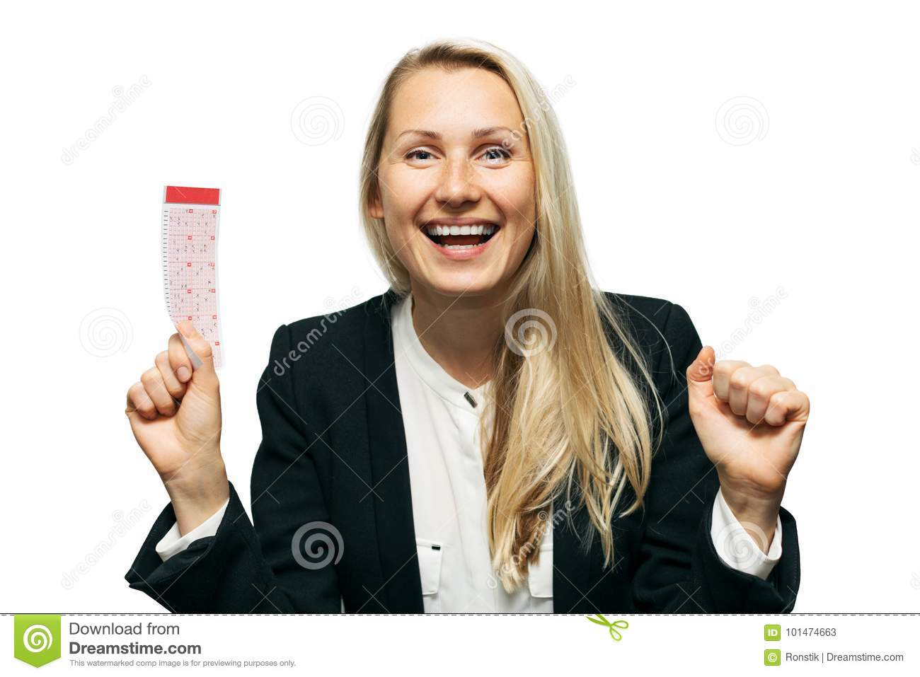 Download Happy Woman With Lucky Lottery Ticket In Hand Stock Image - Image of hand, game: 101474663