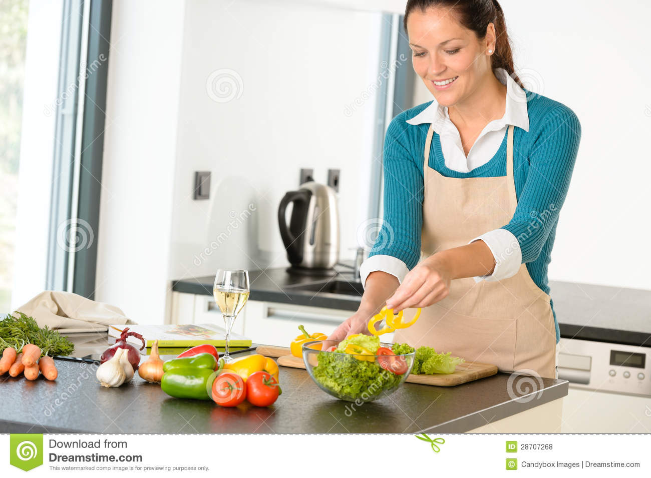 Happy Woman Making Salad Kitchen Vegetables Cooking Royalty Free Stock ...