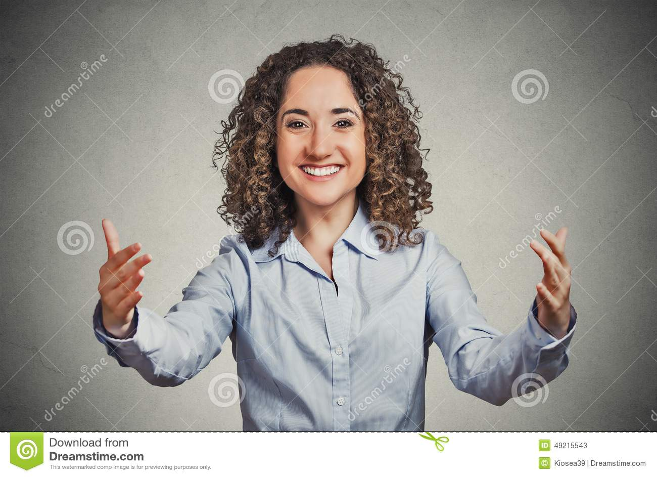 Happy woman motioning with arms to come and give her a bear hug