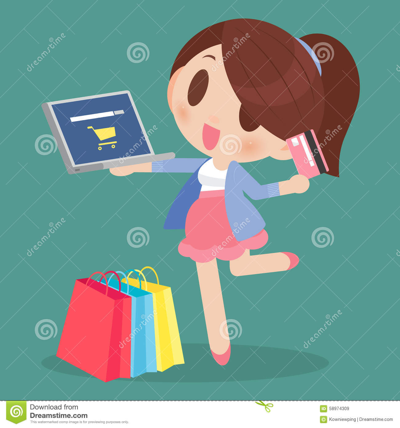 Happy Woman Online Shopping Stock Illustration - Image: 58974309