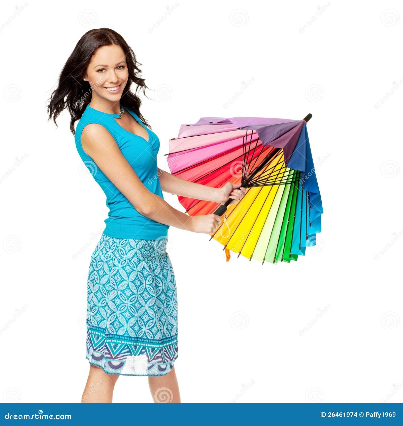 Happy Woman Opening Umbrella Stock Images