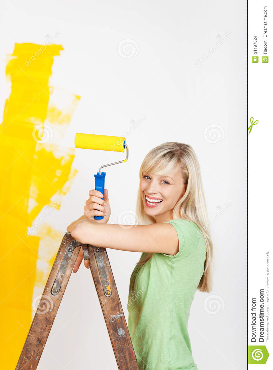 Painter And Decorator Prices >> Happy Woman Painting On Ladder Stock Photo - Image of charming, decorator: 31187024