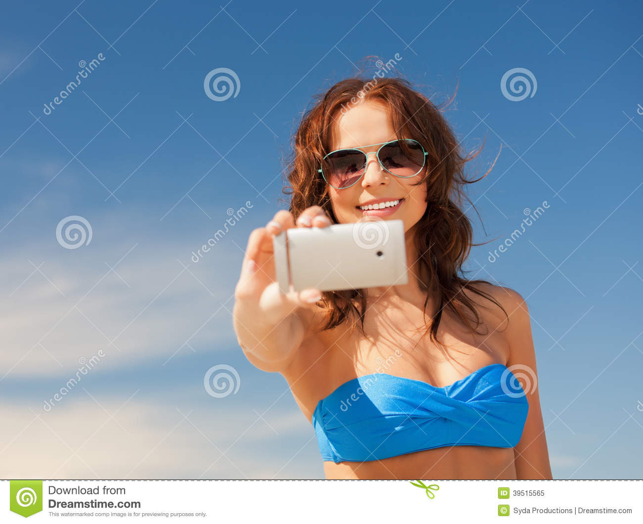 Download Happy Woman With Phone On The Beach Stock Image - Image of communication, information: 39515565