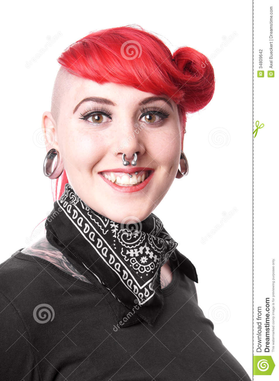Happy woman with piercings