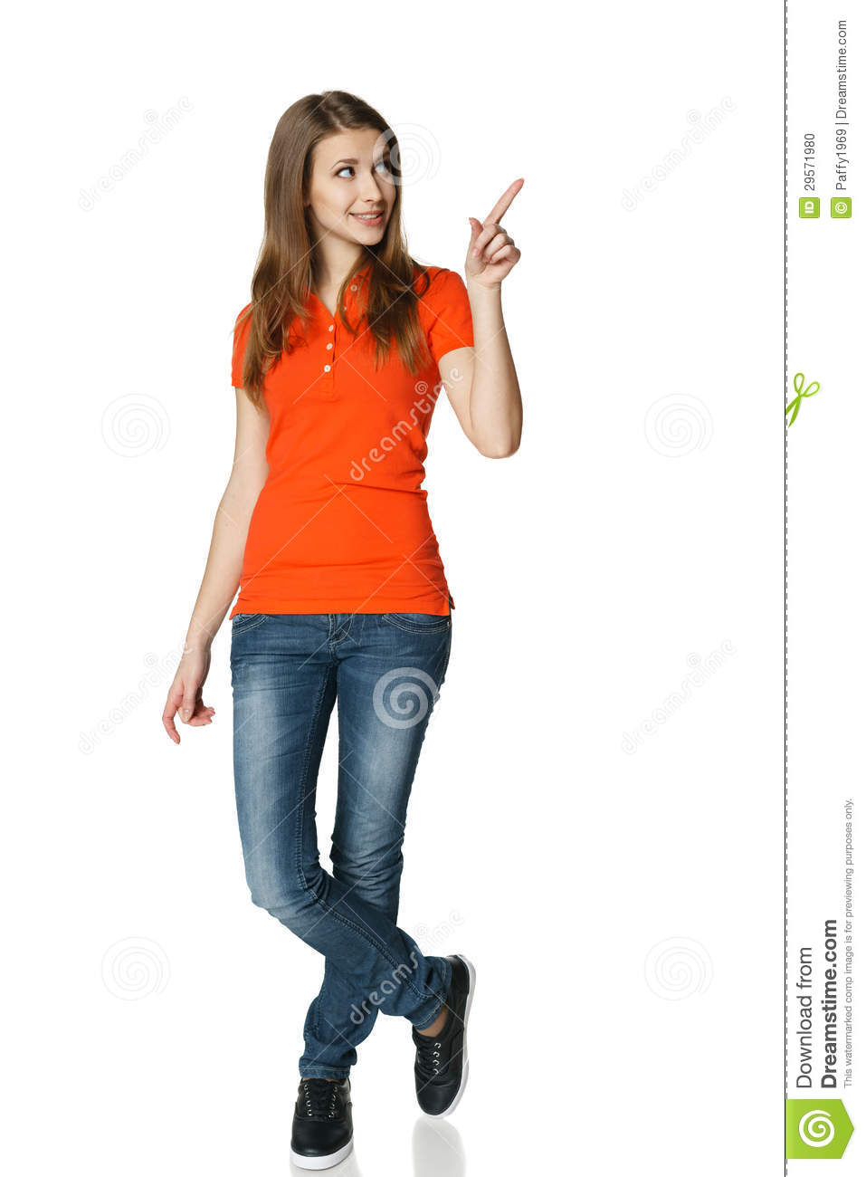 happy-woman-pointing-to-side-standing-fu
