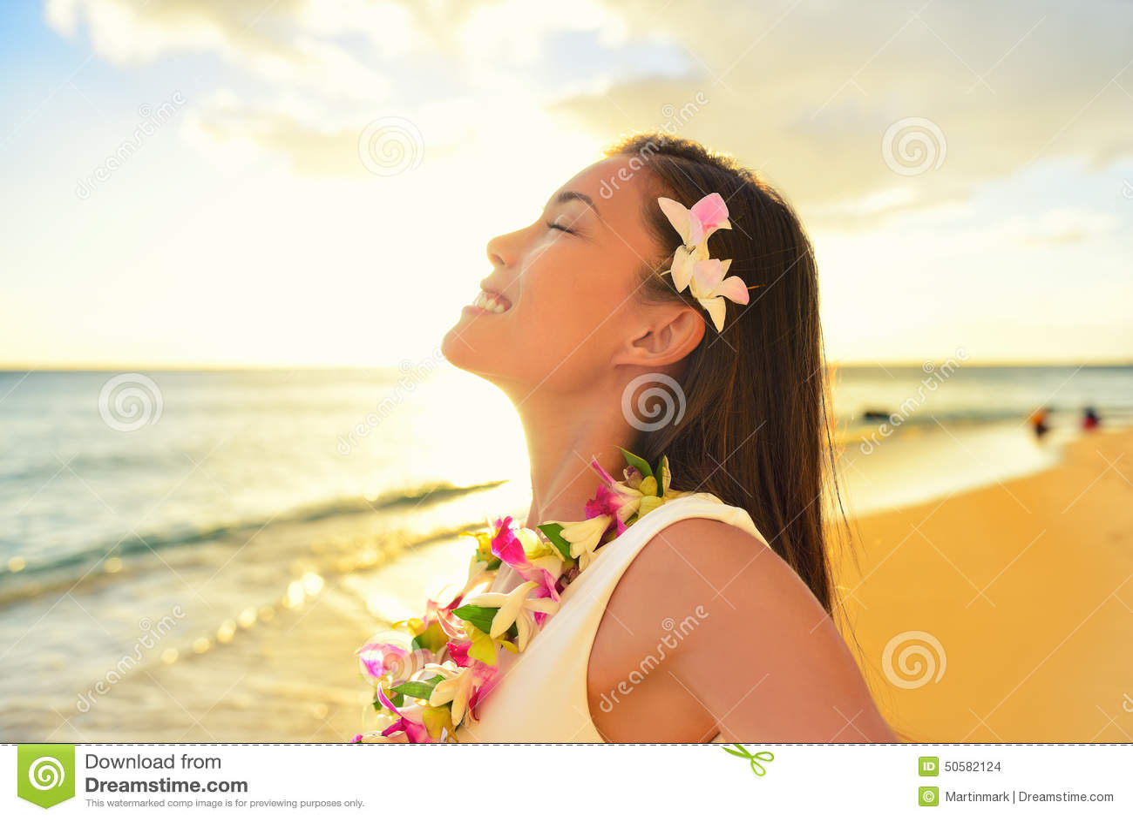 happy woman relaxing on hawaii beach vacation stock photo free hawaiian clip art surf boards free hawaiian clip art frames