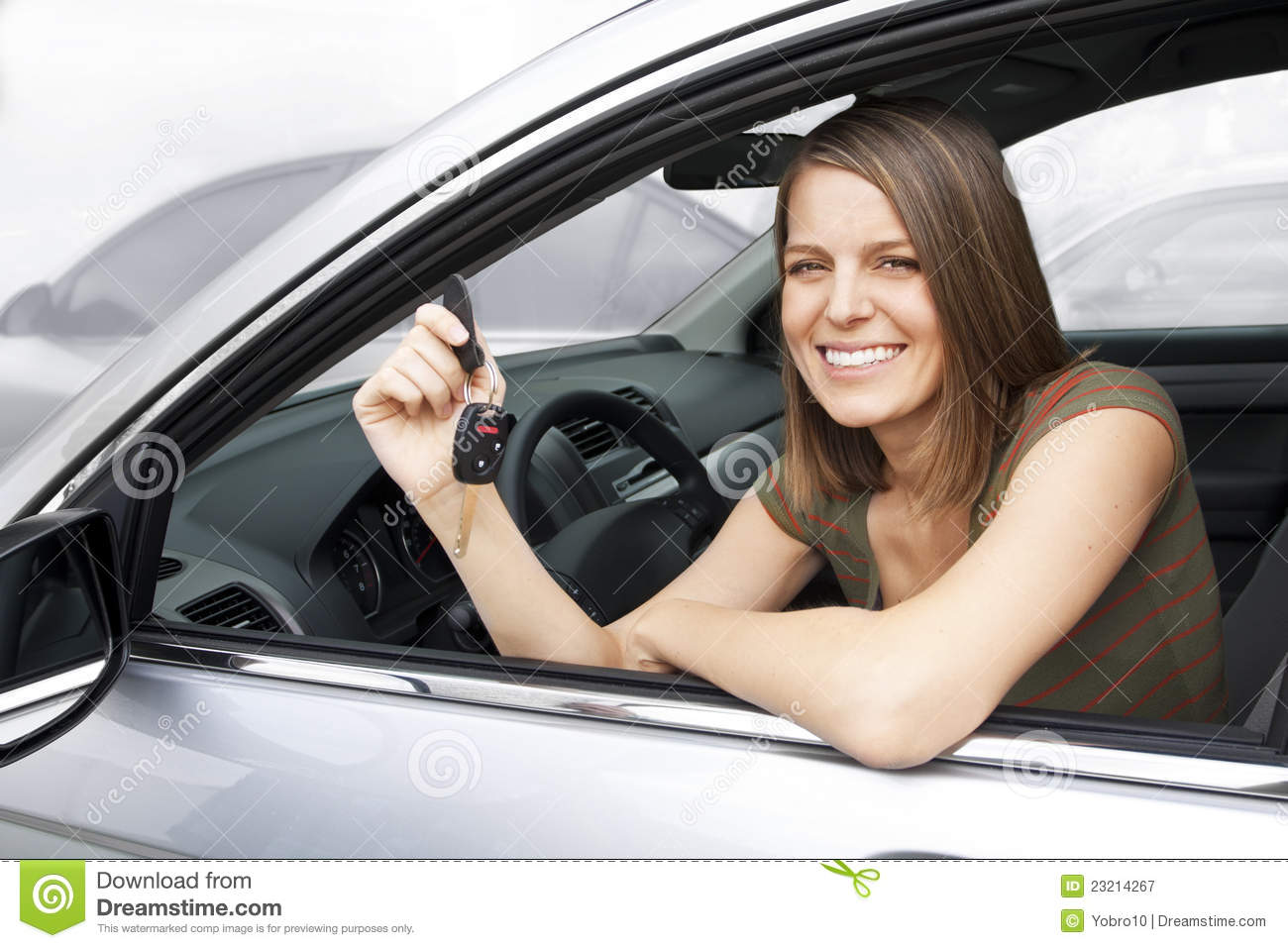 Happy Woman Renting a Car