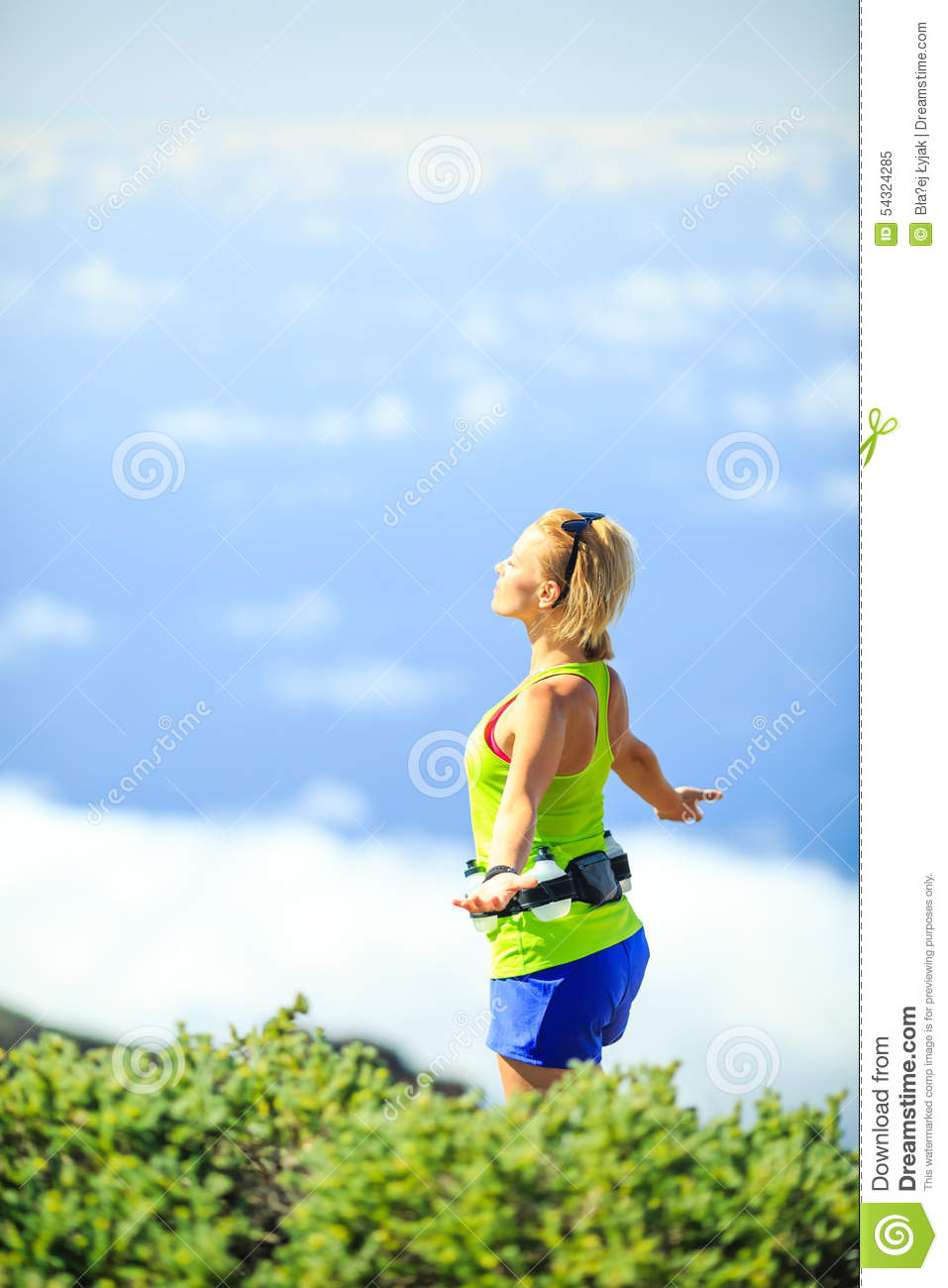 Woman Hiker In Mountains, Arms Outstretched Stock Photo ...