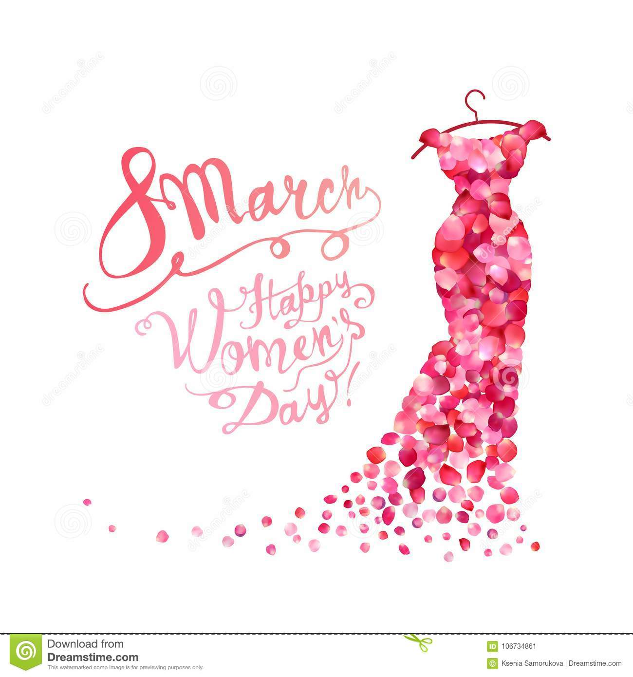 Happy woman`s day! 8 March. Dress of pink petals