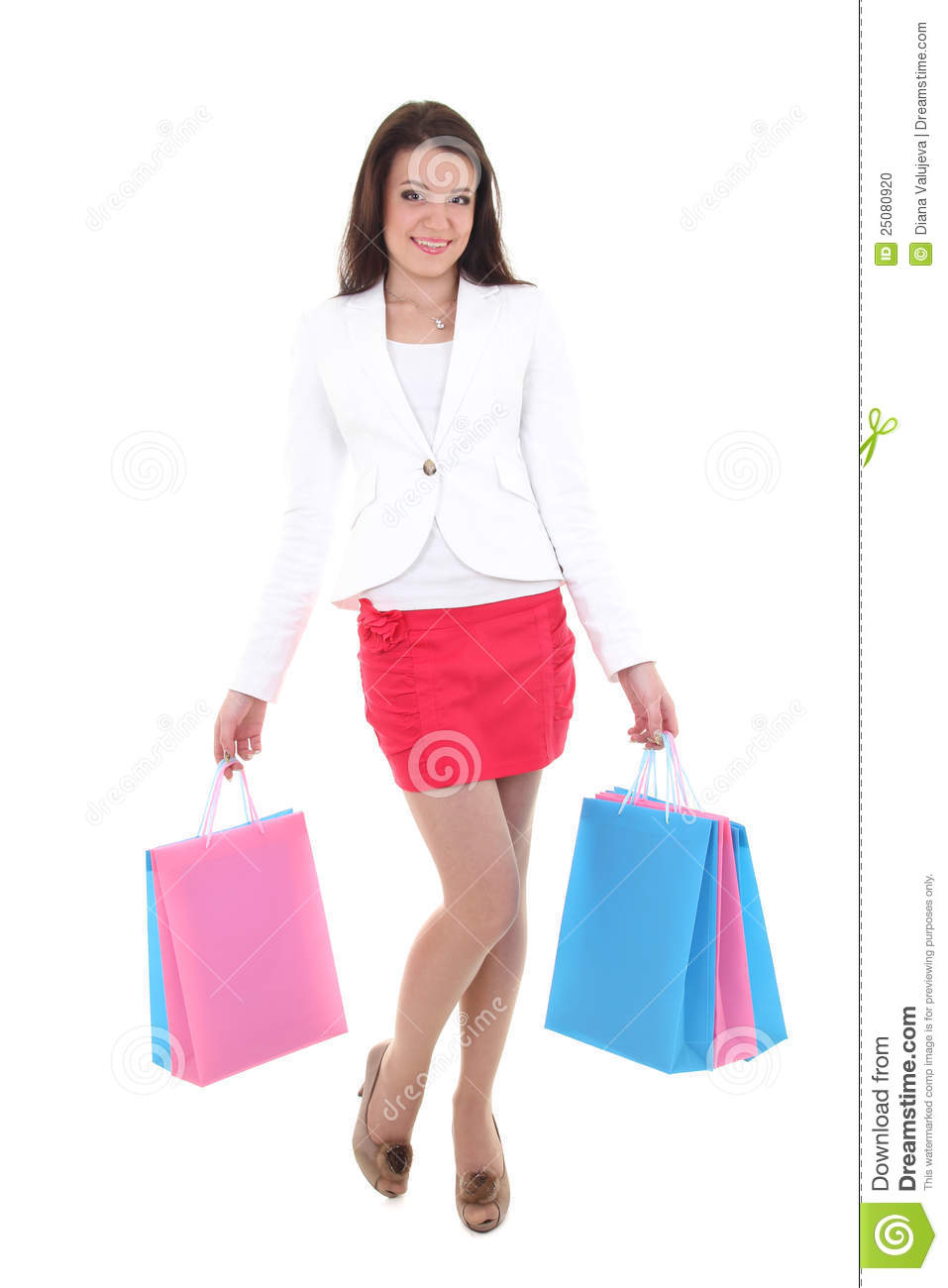 Creative Happy Shopping Woman Holding Shopping Bags  1designshop