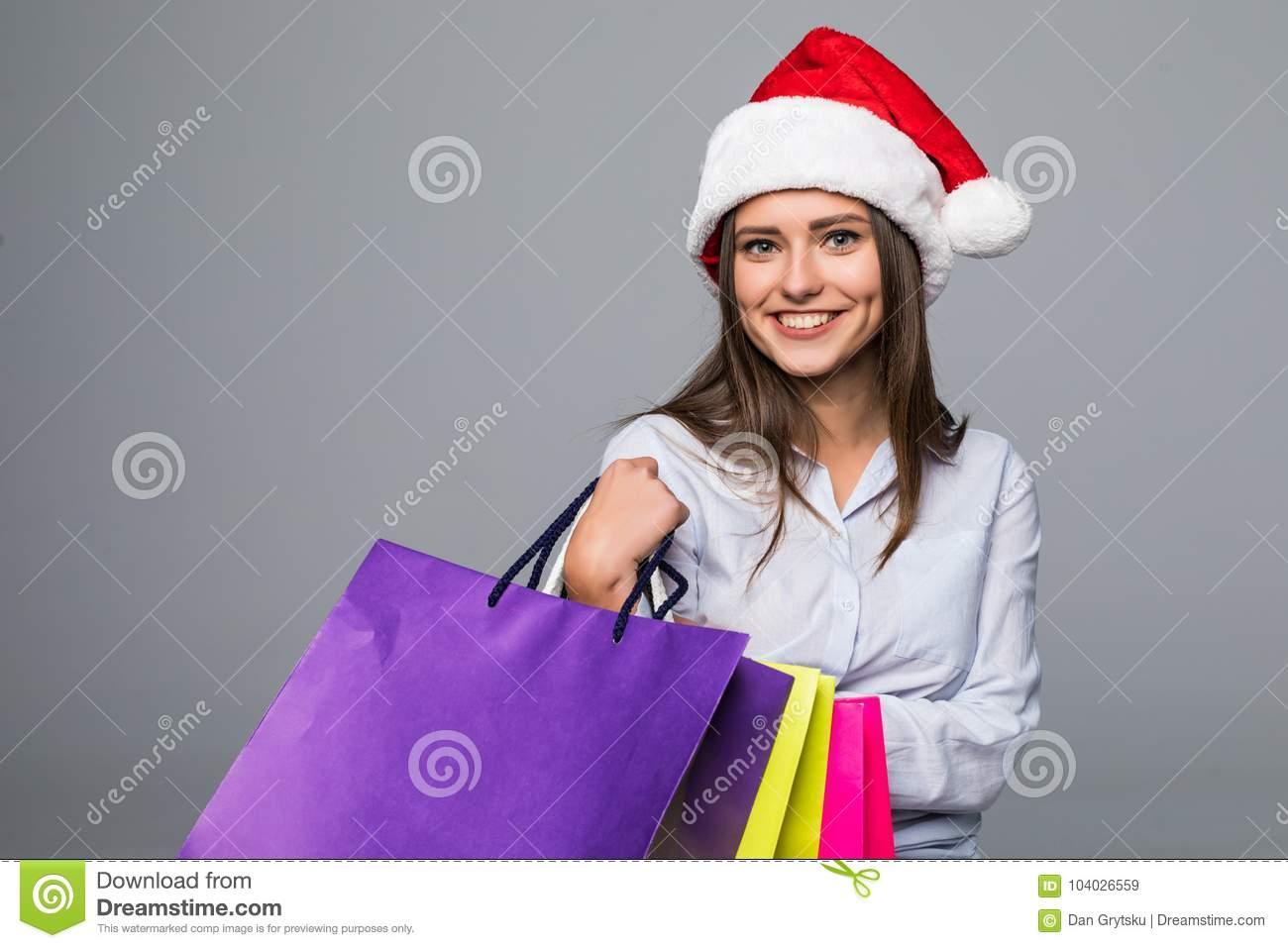 Happy Woman With Shopping Bags. Sales. Christmas Gifts. Christmas ...