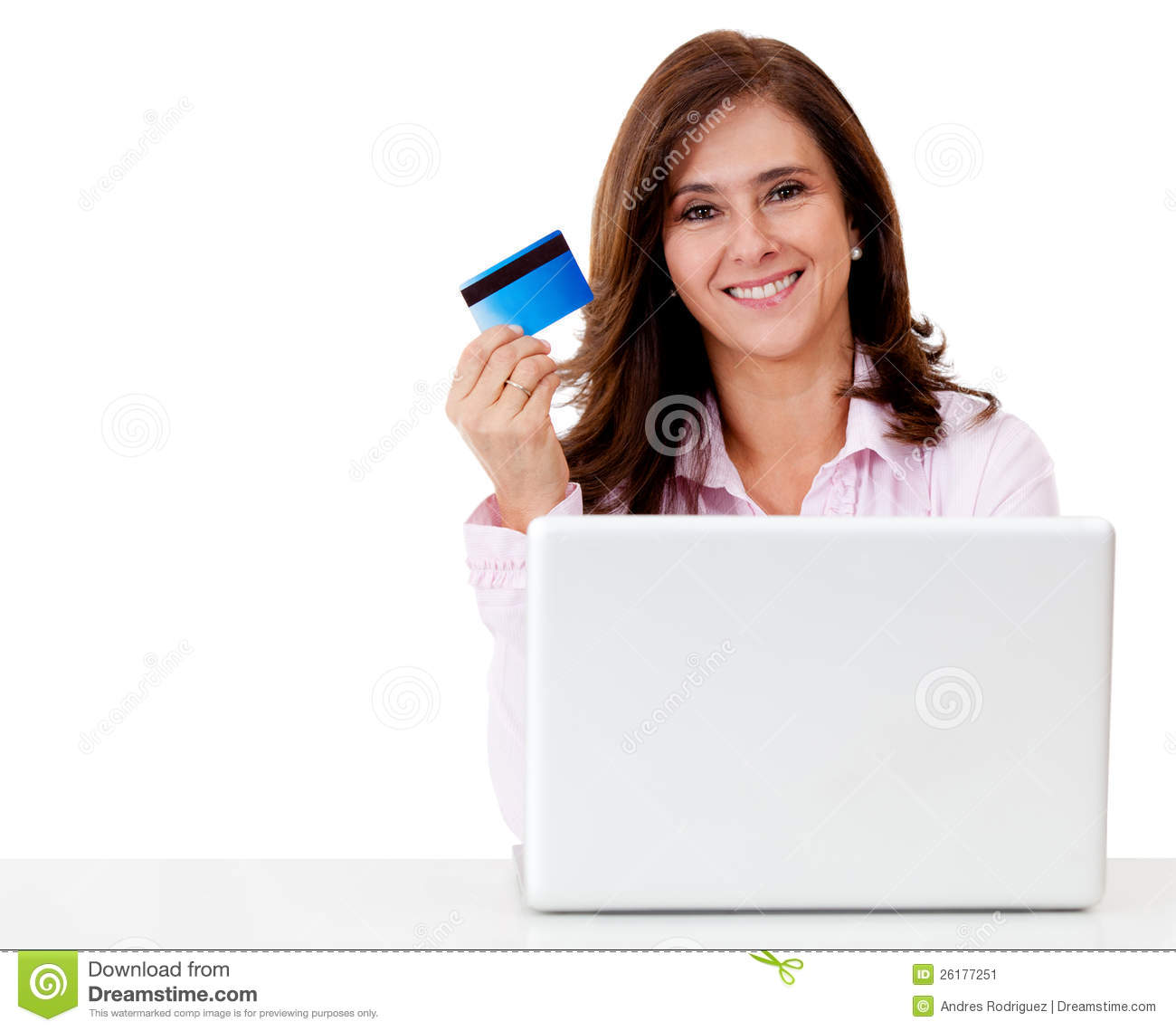 Happy Woman Shopping Online Stock Image - Image: 26177251