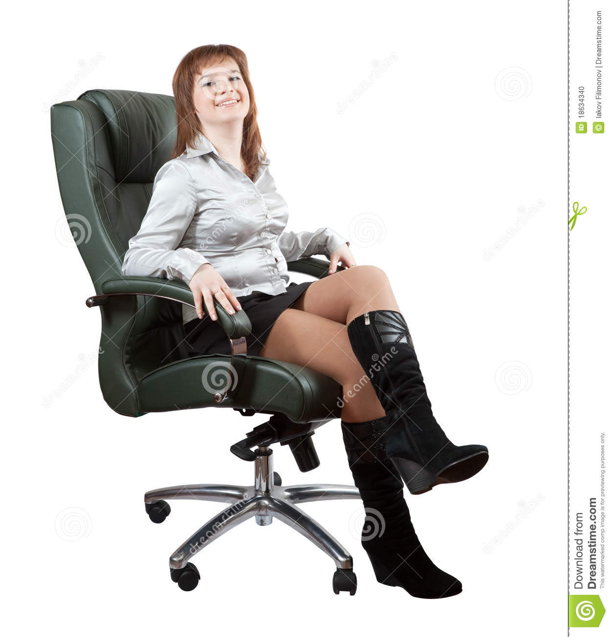 Happy woman sitting luxury office armchair stock photo for Sitting in armchair