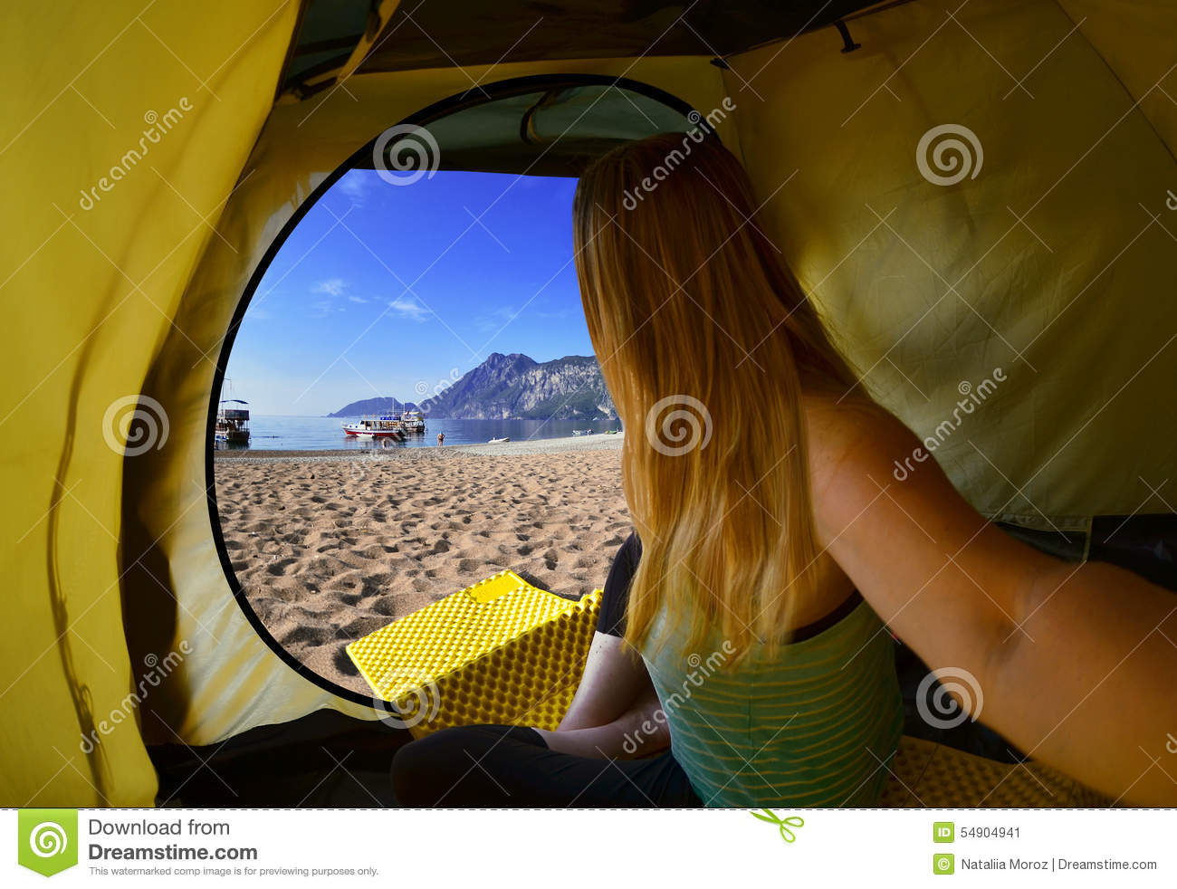 Royalty-Free Stock Photo & Happy Woman Sitting In A Tent view Of Mountains sky And Sea ...