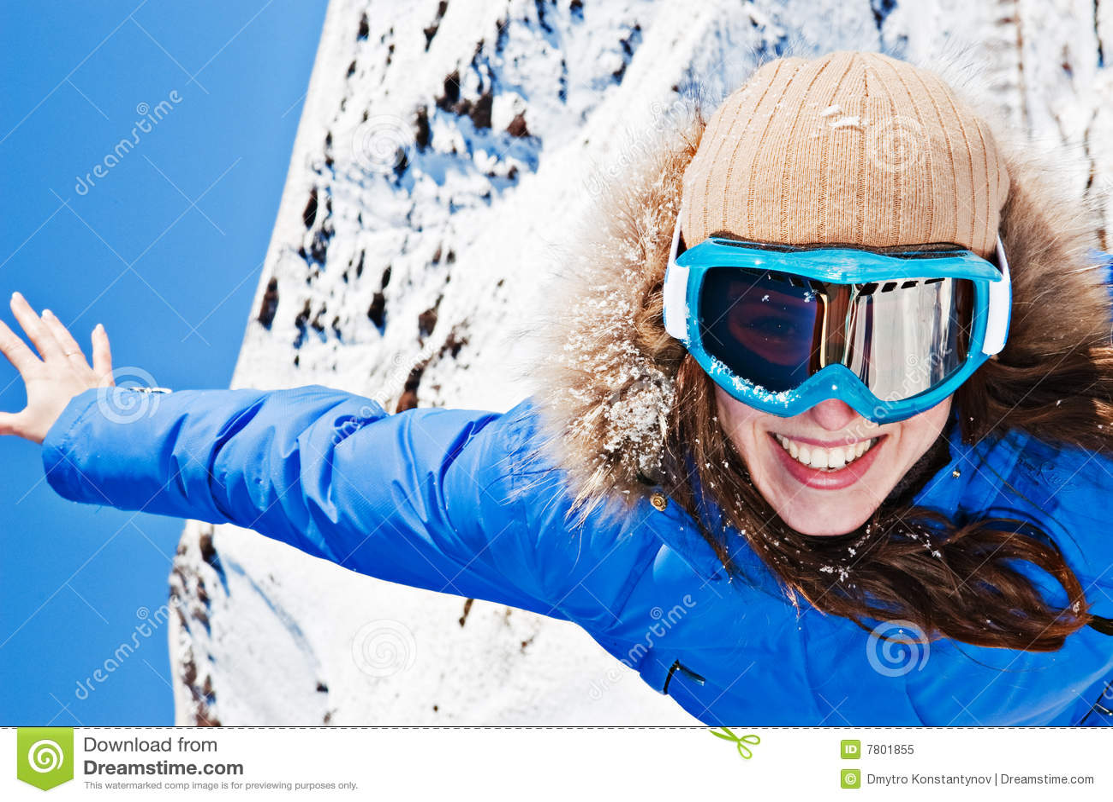 ski sunglasses  Happy Woman In Ski Sunglasses Royalty Free Stock Photo - Image ...