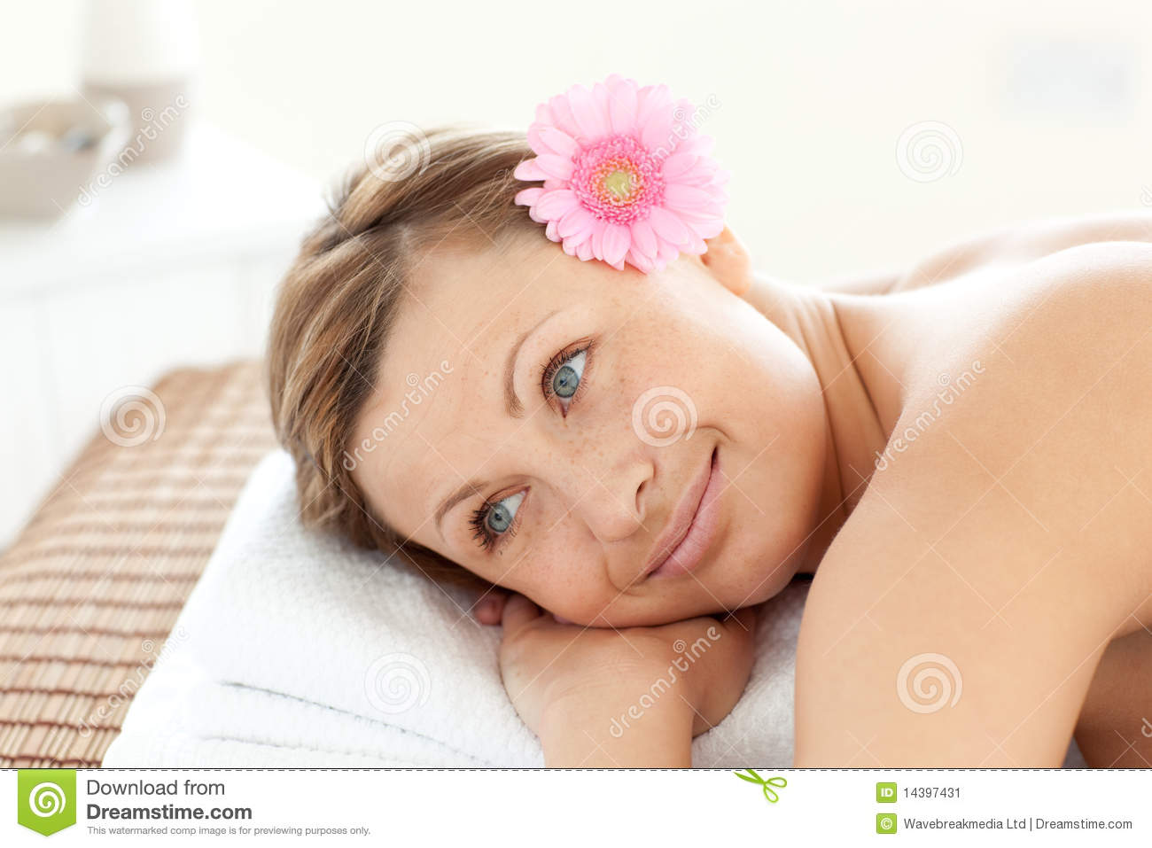 happy woman in a spa with a flower stock image image. Black Bedroom Furniture Sets. Home Design Ideas