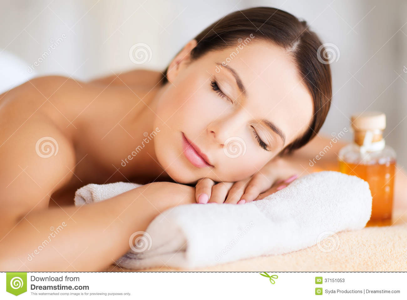 happy woman in spa salon stock image image of care. Black Bedroom Furniture Sets. Home Design Ideas
