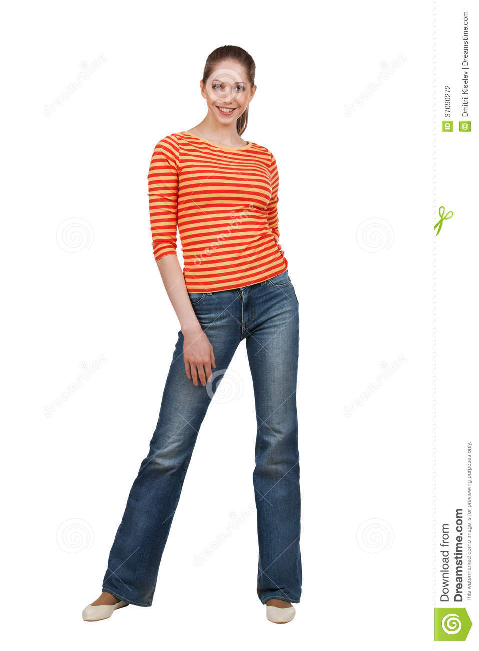 Happy Woman In T-shirt And Blue Jeans Stock Photography - Image 37090272