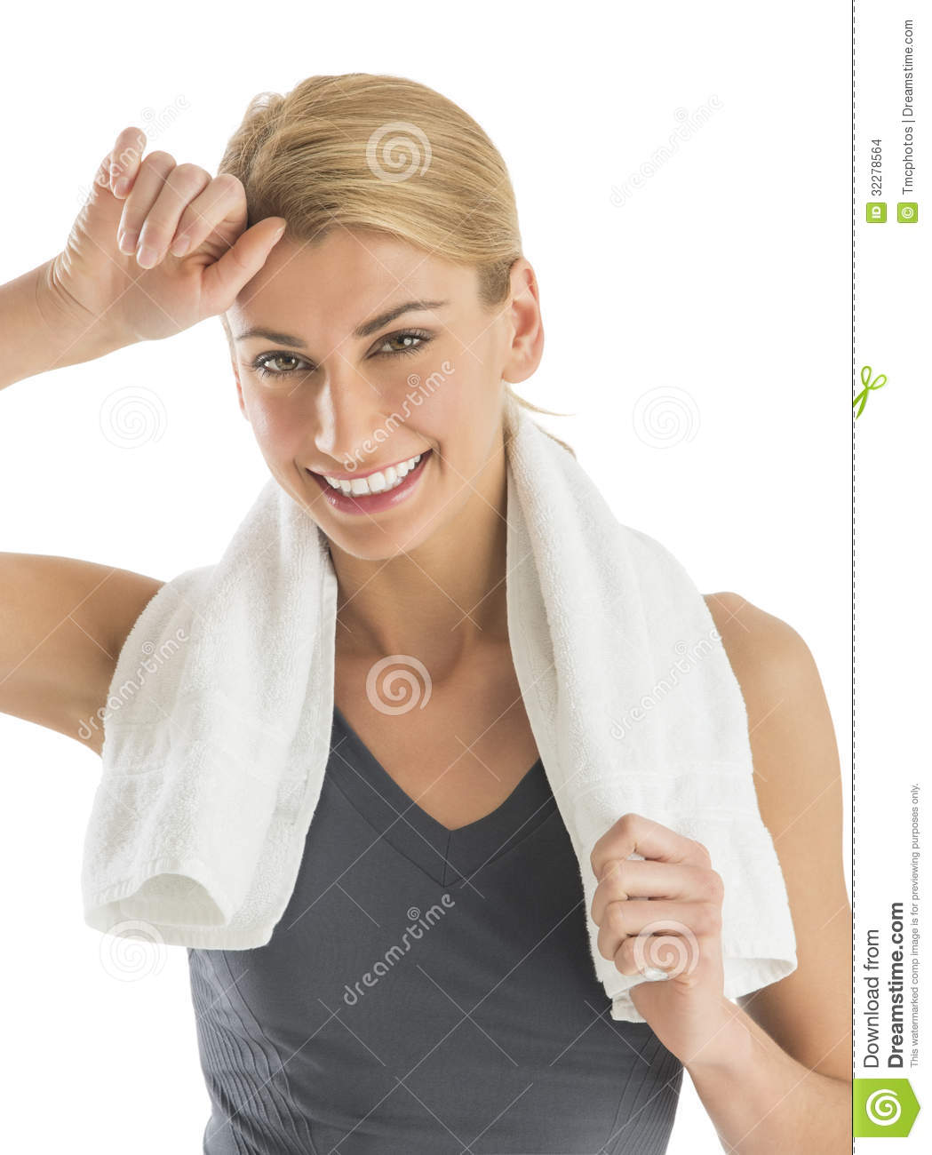 Sweat Towel On Neck: Happy Woman With Towel Around Neck Wiping Sweat Stock