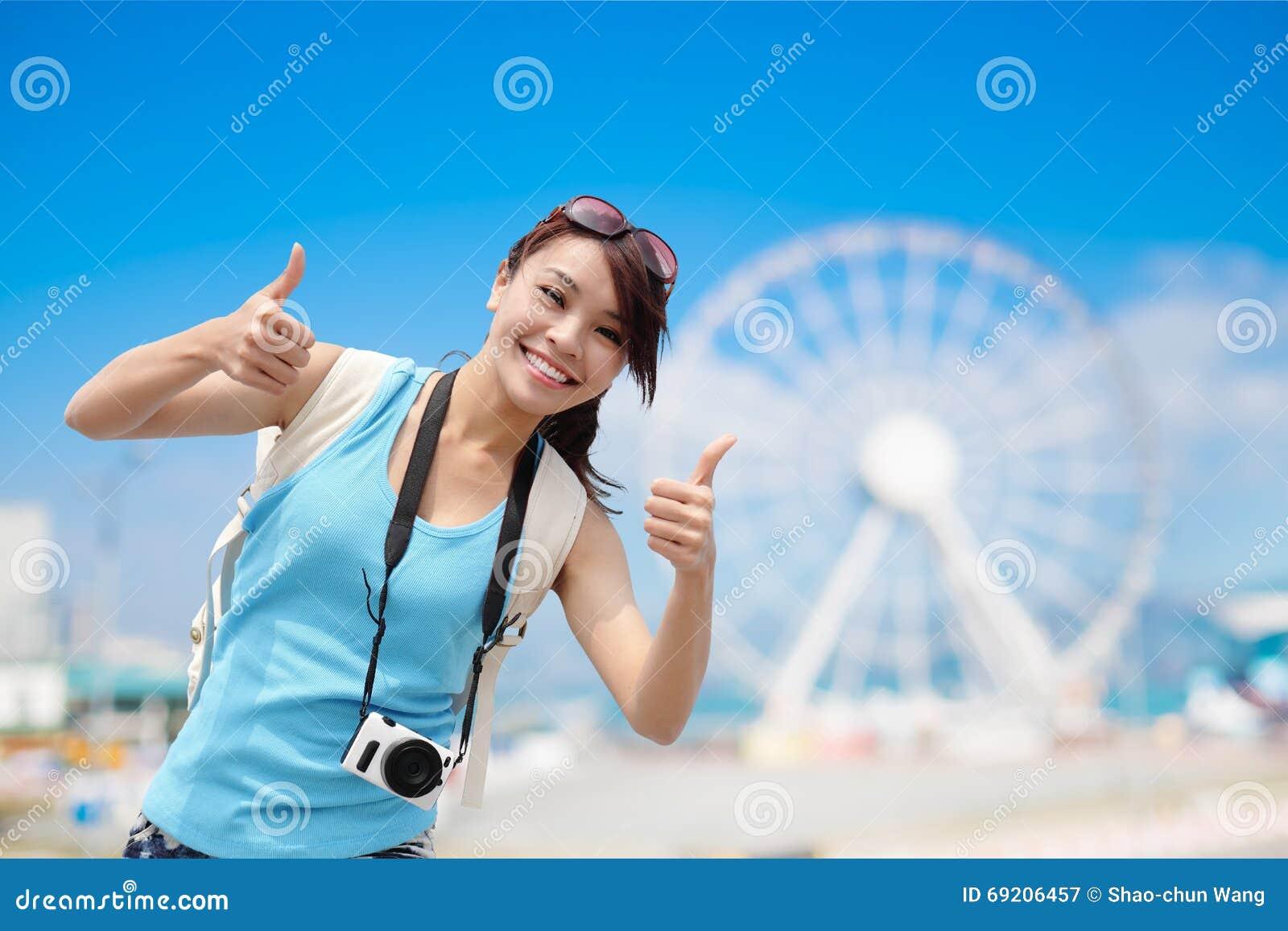 Happy woman travel