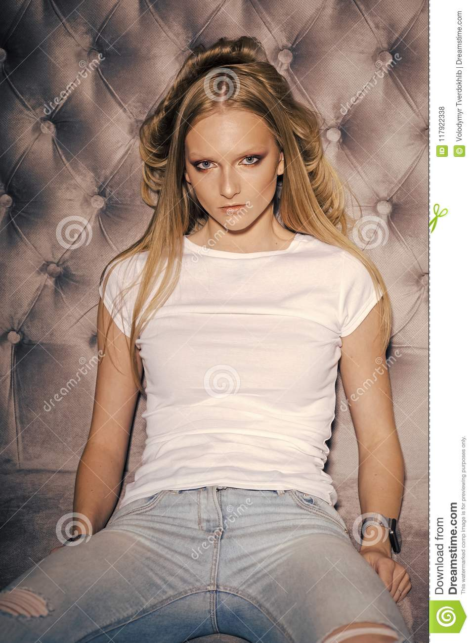 Happy Woman Woman In Tshirt And Jeans Relax On Sofa Fashion Woman