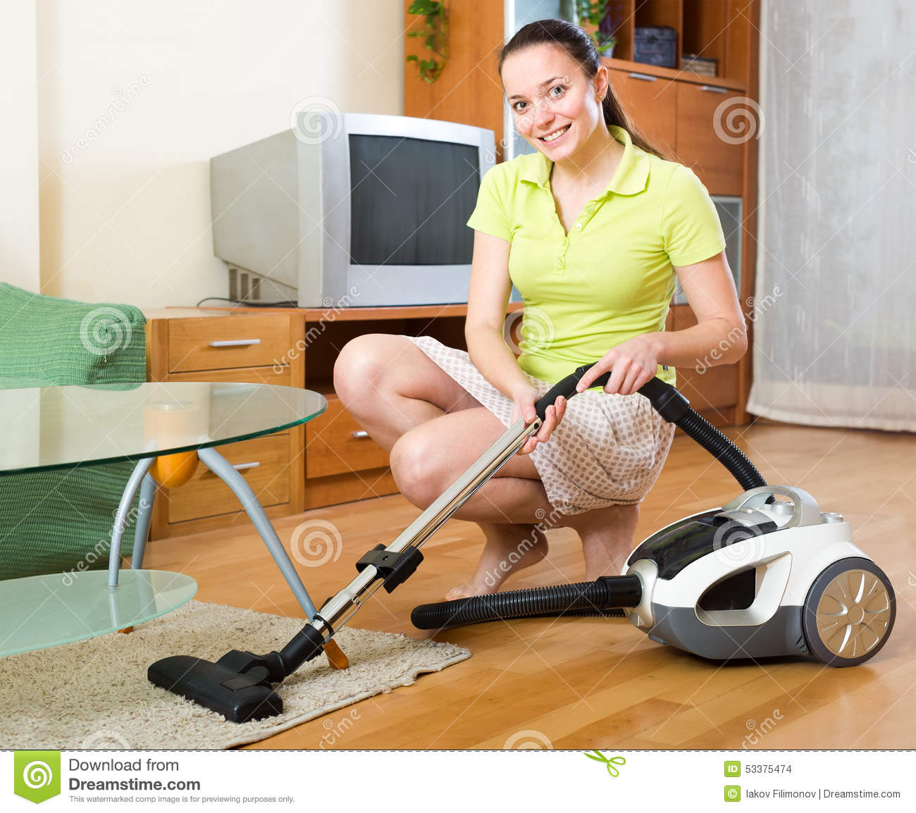 Happy Woman Vacuuming Floor Stock Photo Image 53375474