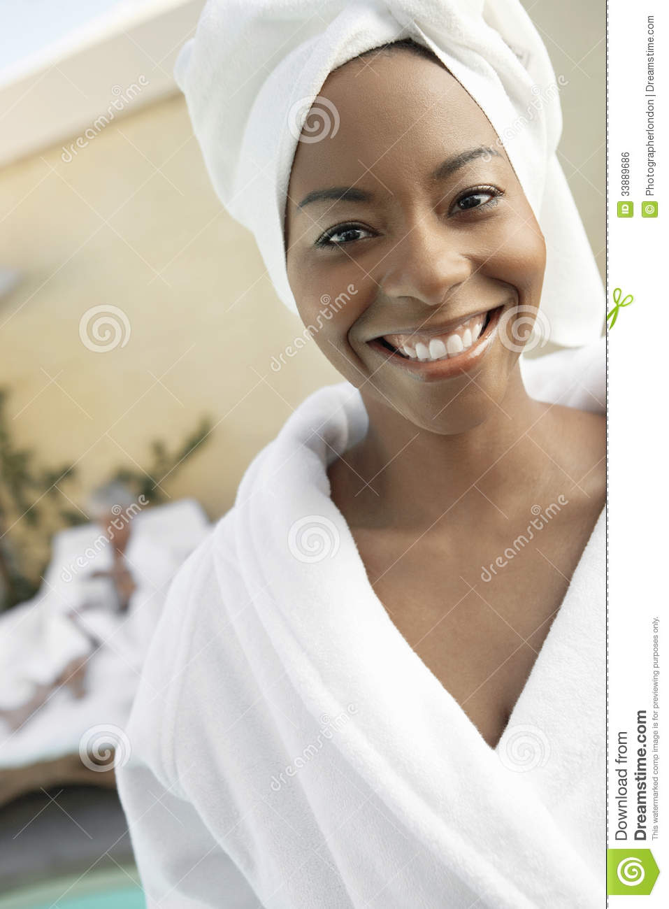 Happy Woman Wearing Bathrobe In Dayspa Stock Photo - Image of ... f553ab2d2