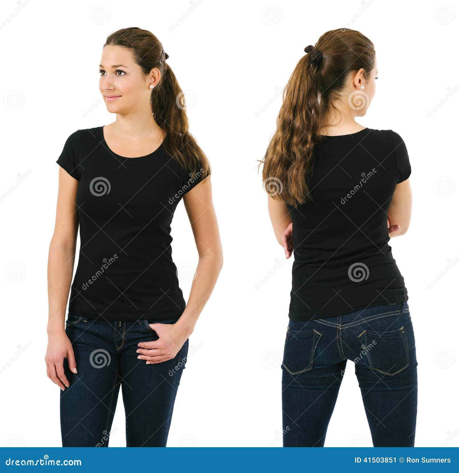 Happy Woman Wearing Blank Black Shirt Stock Photo
