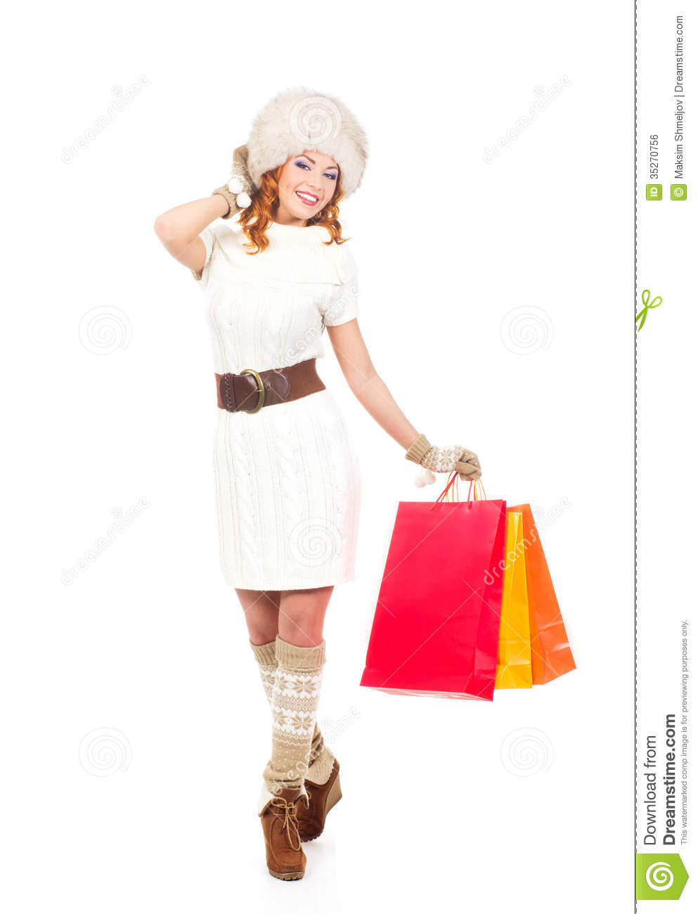 Woman posing with shopping bags isolated on white background full - Background Happy Isolated Shopping White Winter Woman