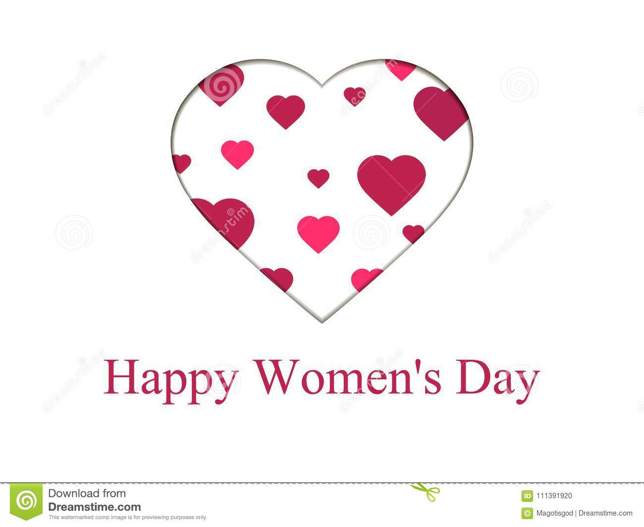 Happy women day, 8 march. Mother`s day. Greeting card with paper cut hearts, banner and poster. Typography design. Vector