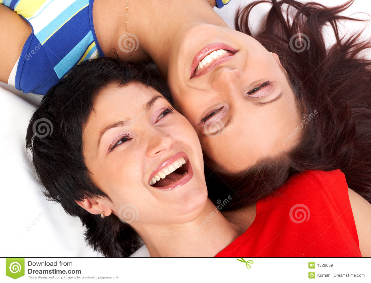 Happy women laughing