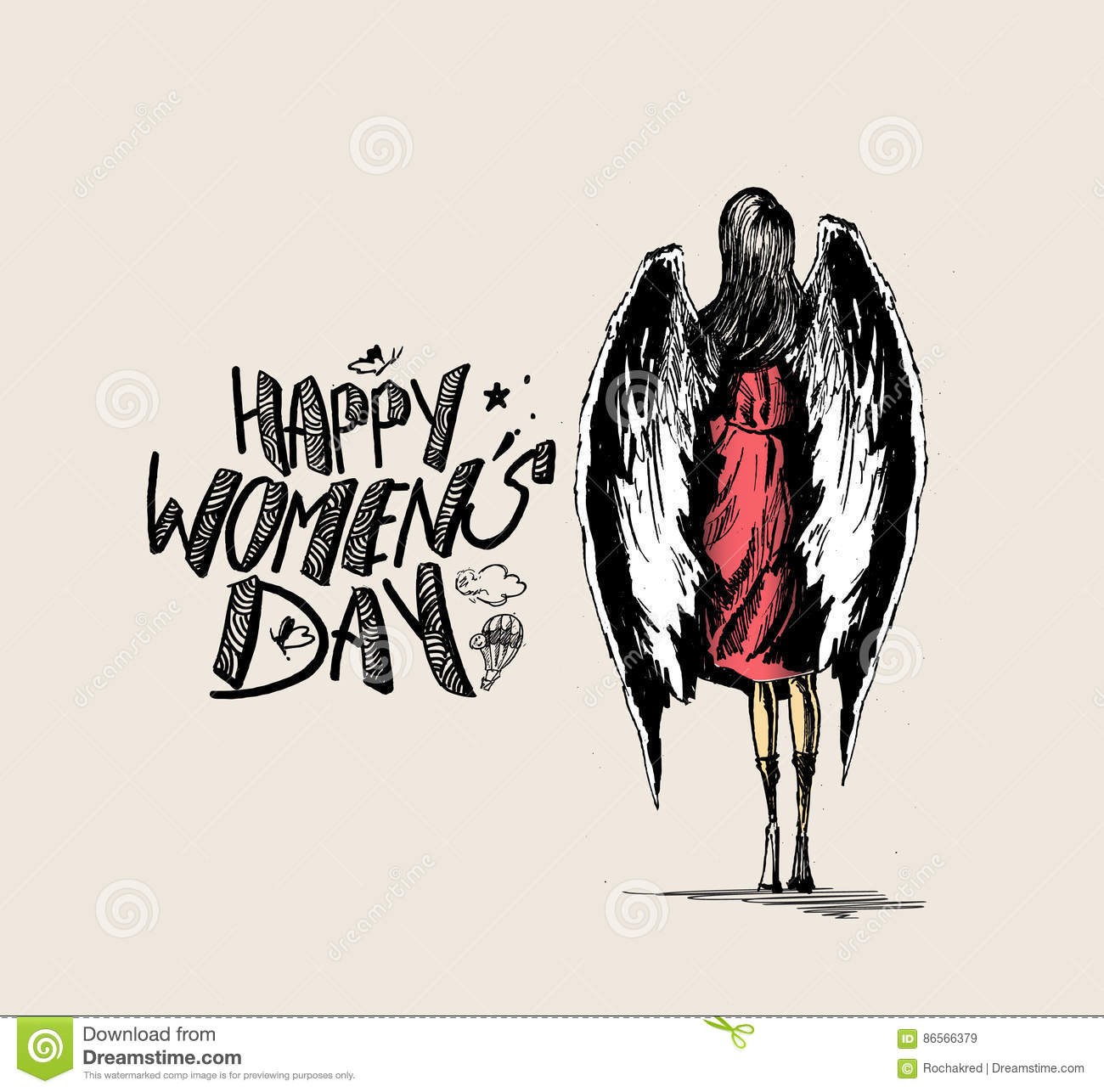 Happy Women`s Day, angel woman with wings