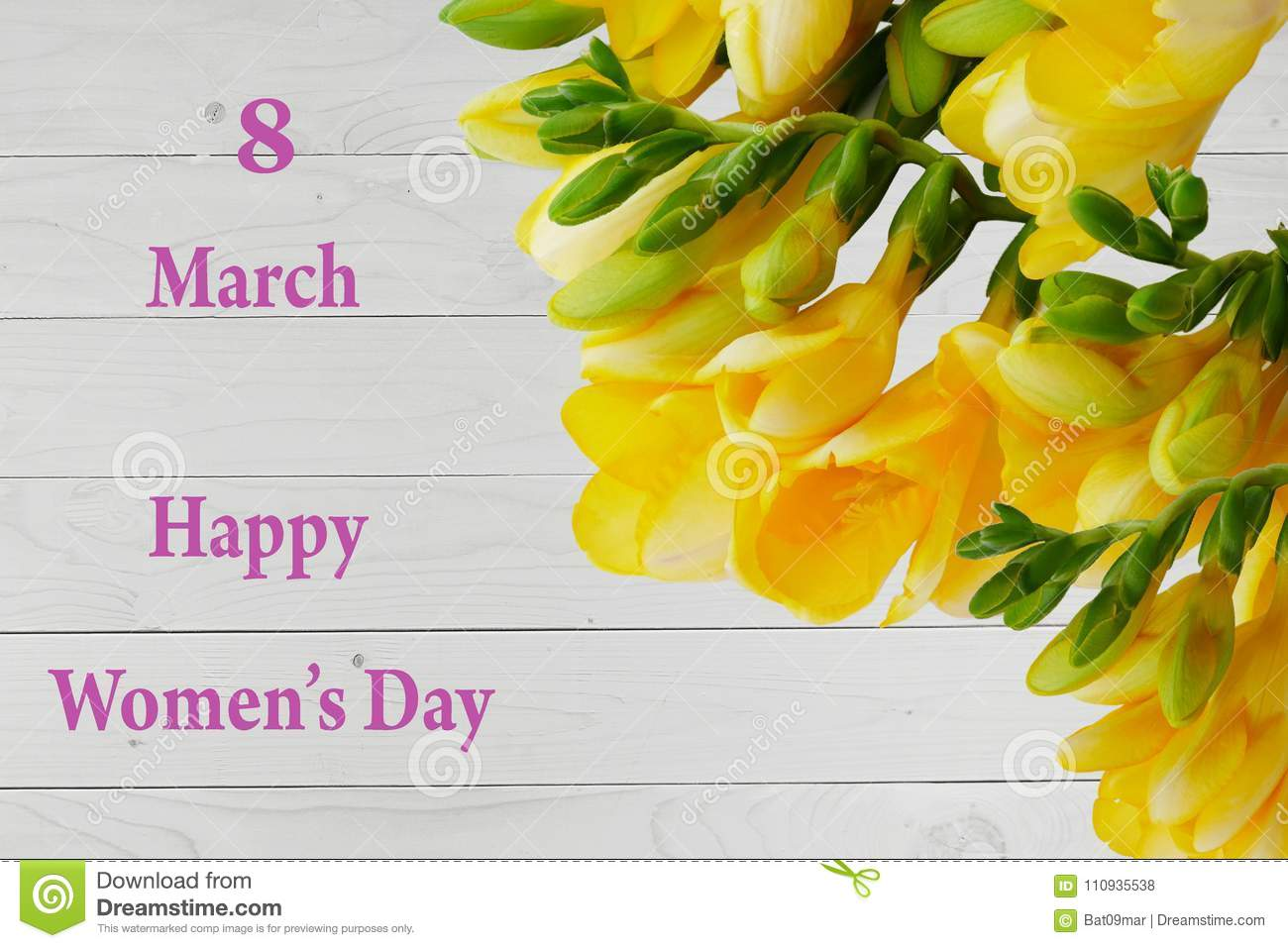 Happy Womens Day Card With Yellow Freesia Flowers Stock Photo
