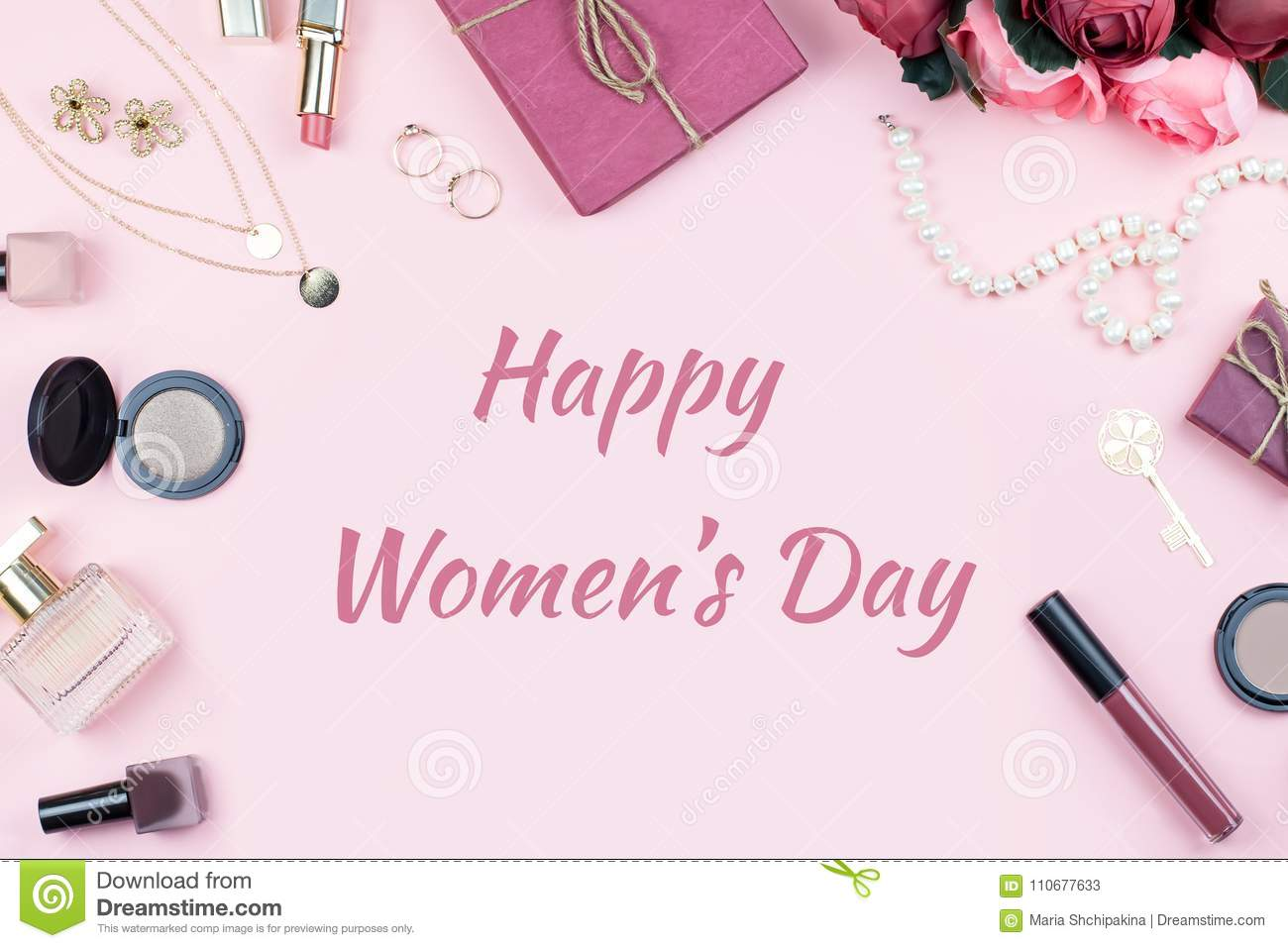 Happy womens day greeting card with fashion accessories in royalty free stock photo kristyandbryce Gallery