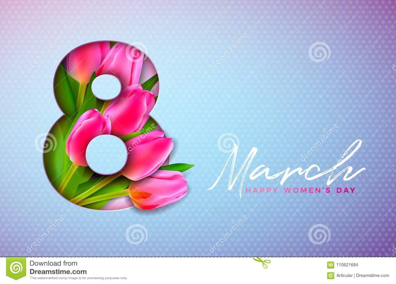 Happy Women`s Day Illustration with Tulip Bouquet and 8 March Typography Letter on Pink Background. Vector Spring Flower
