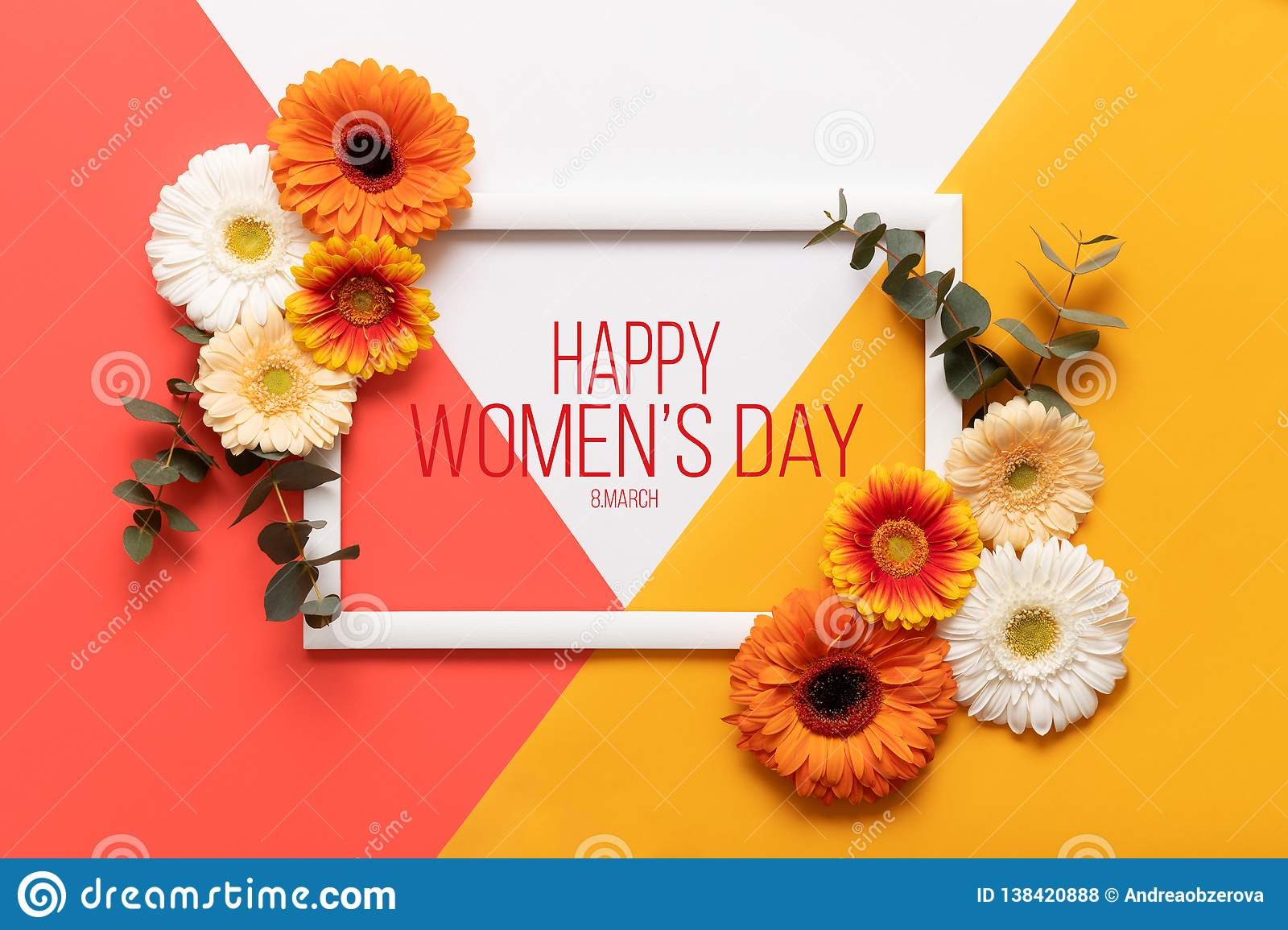Happy Women`s day Living Coral Pantone Color Background. Coral flat lay greeting card template with beautiful flowers.
