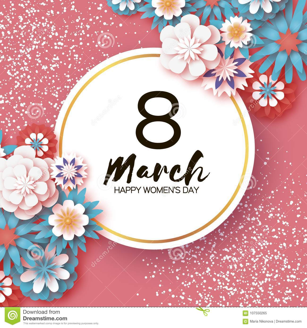 Happy Women`s Day. 8 March. Trendy Mother`s Day. Paper cut Floral Greeting card. Origami flowers flying around Circle