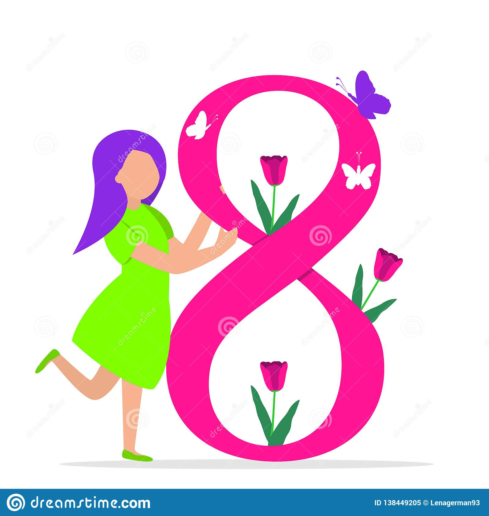 Happy Women`s Day 8th March illustration
