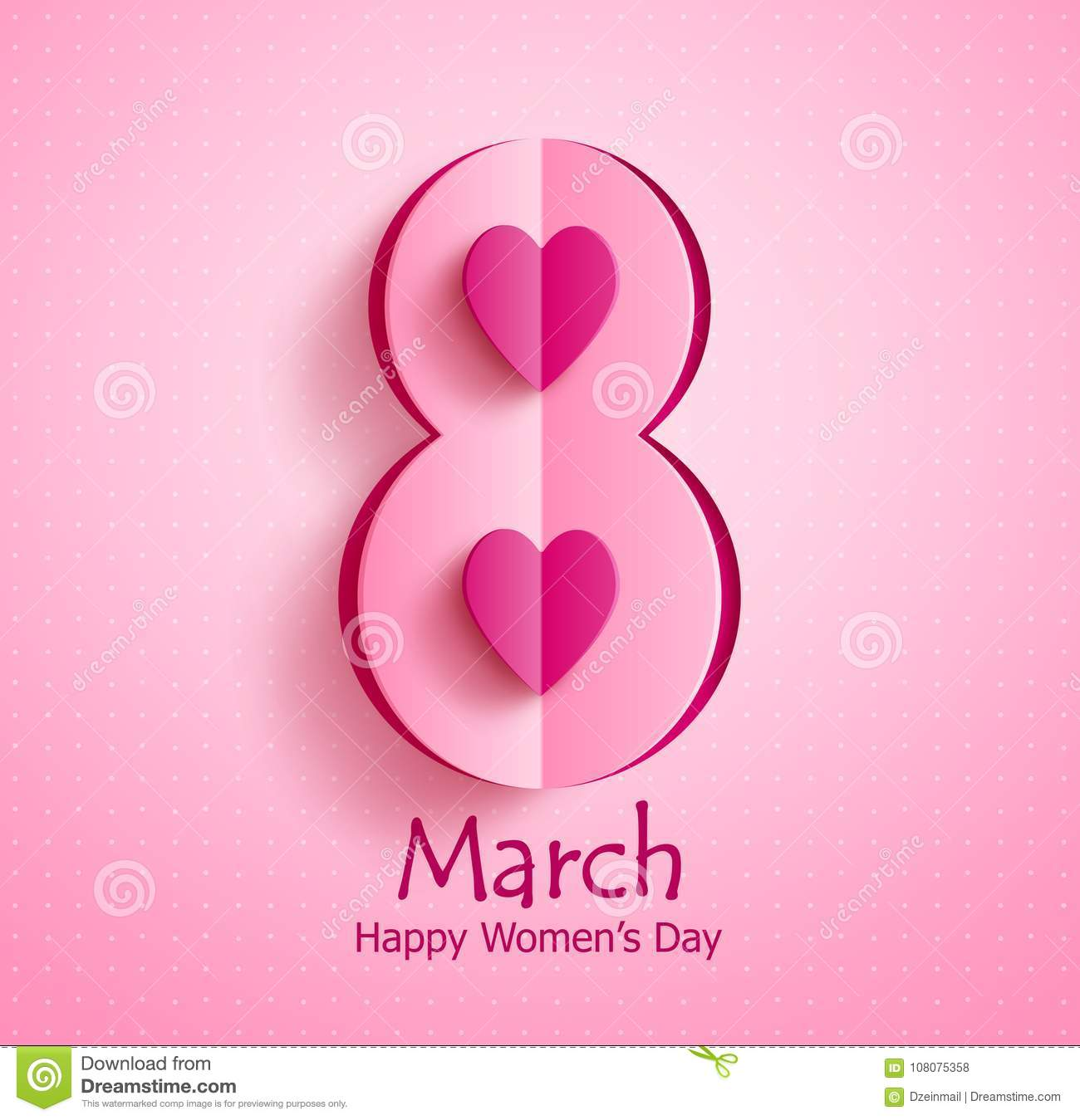 Happy women`s day vector banner design with March 8 text and paper cut heart